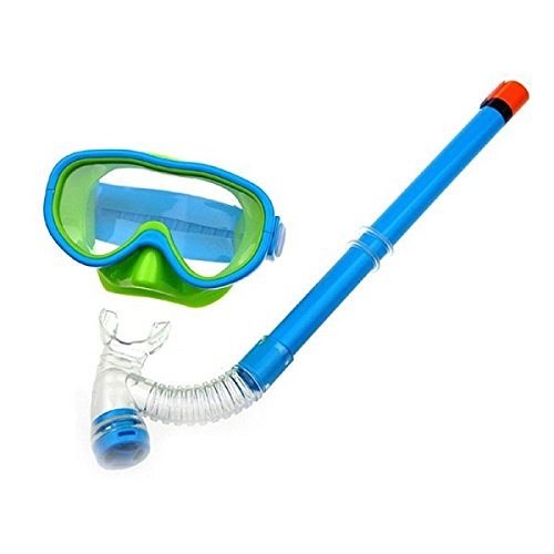 Kids Silicone Scuba Swimming Swim Diving Mask Snorkel Glasses Set Anti Fog Goggles (Lake Blue)