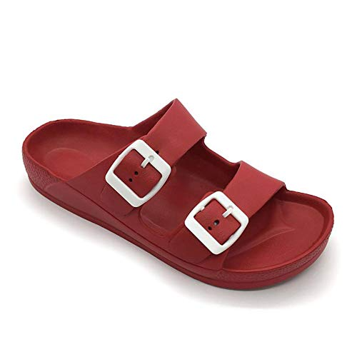 FUNKYMONKEY Women's Comfort Slides Double Buckle Adjustable EVA Flat Sandals (9 M US-Women, Red)