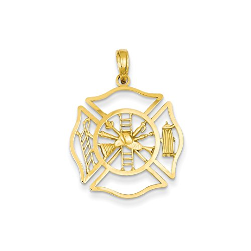 ICE CARATS 14k Yellow Gold Fireman Shield Pendant Charm Necklace Career Professional Firefighter Fine Jewelry Ideal Mothers Day Gifts For Mom Women Gift Set From (14k Firefighter Pendant)
