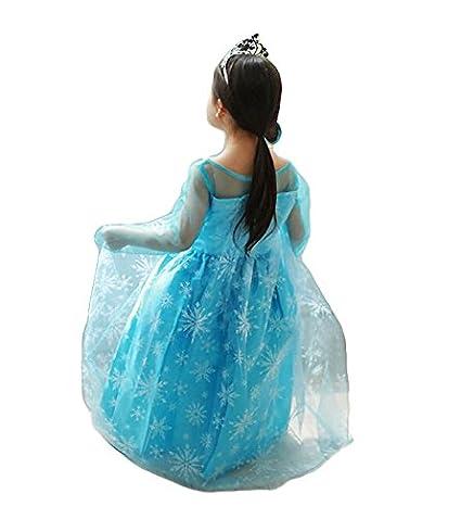 110//2-3 Anni NNDOLL Elsa Vestito Bambina Costumi Carnevale Principessa Azzurro Abito