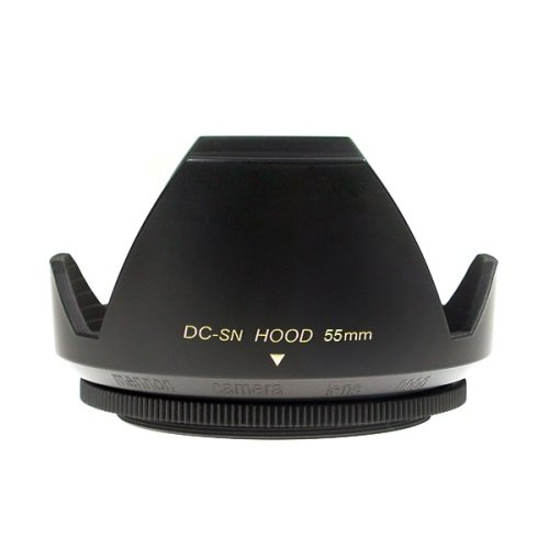 Mennon DC-sn 55 Improved Screw Mount 55mm Flower Lens Hood with Cap, Black