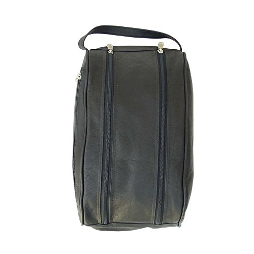 Piel Leather Double Compartment Shoe Bag - Black by Piel Leather