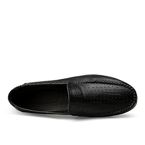Genuino de Ocasionales de Son Mocasín Black con y los resbaladizo no Barco Cuero de Hollow de Hombres Blandas conducción Mocasines Suelas Zapatos refrescantes XnqPSE