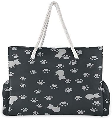 Carryon Travel Bag Cats Paw Print Traces Summer Beach Bags For Women Beach Tote Stylish 20.5 X 7.3 X 15 Inch Zipper Closure With Cotton Handle For Picnics Travel Vacations