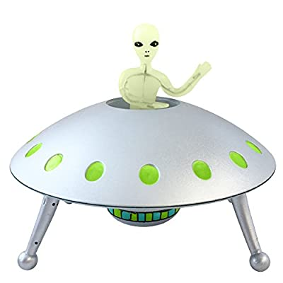 Off the Wall Toys Alien Glow-in-The-Dark UFO Space Ship and Bendable Action Figure Toy: Toys & Games