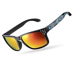 RockBros Polarized Sunglasses for Women Men UV Protection Square Glasses Beset with Crystal Black Blue