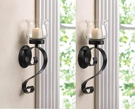 Large Black Iron Wall Sconce Double Taper Holder
