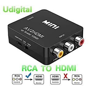 RCA to HDMI, AV to HDMI,Udigital 1080P Mini RCA Composite CVBS AV to HDMI Video Audio Converter Adapter Supporting PAL/NTSC with USB Charge Cable( PC Xbox PS4 PS3 TV STB VHS VCR Camera DVD N64)