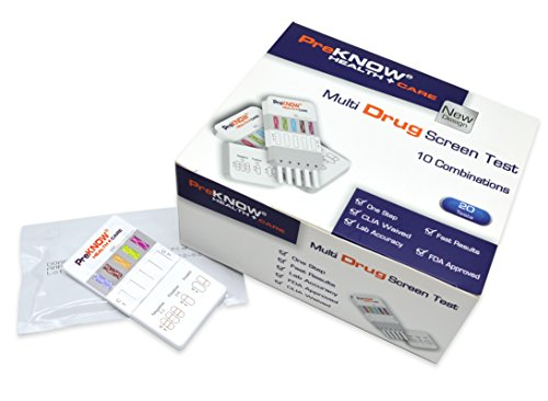 5 x PreKnow Instant 5 Panel Multi-Drug Screen Test DipCard- (Test for AMP-BZO-COC-OPI-THC)- FDA Approved for OTC Use & Self Testing - Item# IDOA-755-5P