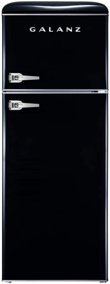 Galanz - Retro Look Refrigerator, 7.6 Cu Ft Refrigerator Dual Door True Freezer (RETRO), ESTAR Black