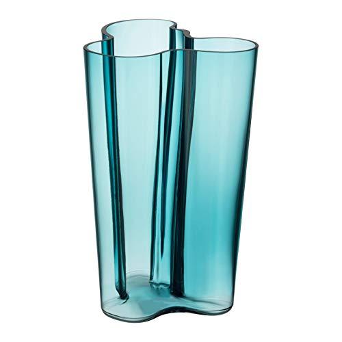 (Iittala Alvar Aalto Glass Vase Finlandia 251 mm Sea Blue)