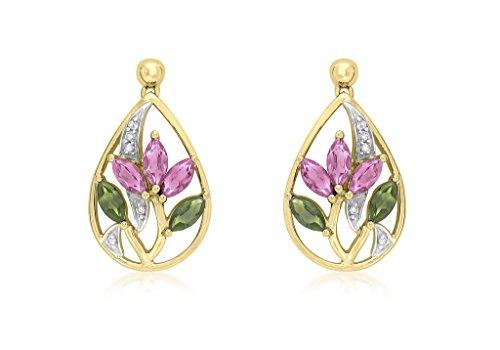 Jewellery World Bague en or jaune 9carats avec diamant rose et vert tormaline Lotus goutte Boucles d'oreilles