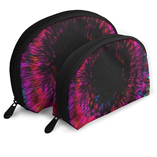 Makeup Bag Trippy Colorful Portable Shell Toiletry Organizer For Women Halloween Gift 2 Pack]()