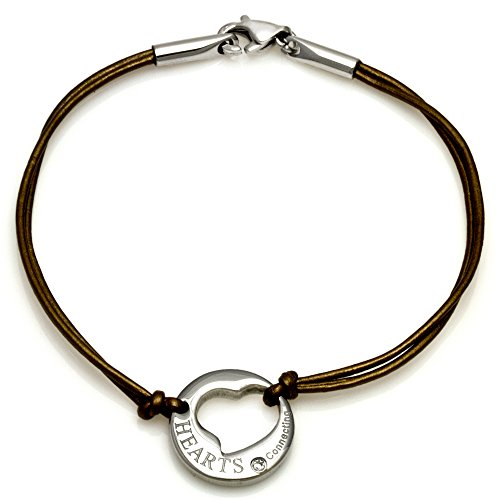 Bronx Thin Leather Bracelet with Cubic Zirconia on Cut-out Heart Charm and Stainless Steel Clasp, 7""