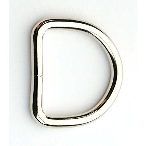1 Inch D-Ring, Welded, Nickel Plated (50 Pieces)
