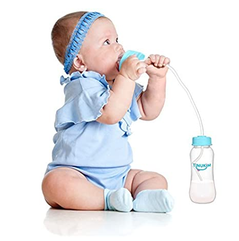8845f8d673f Amazon.com   Tinukim Hands Free Baby Bottle - Anti-Colic Nursing System