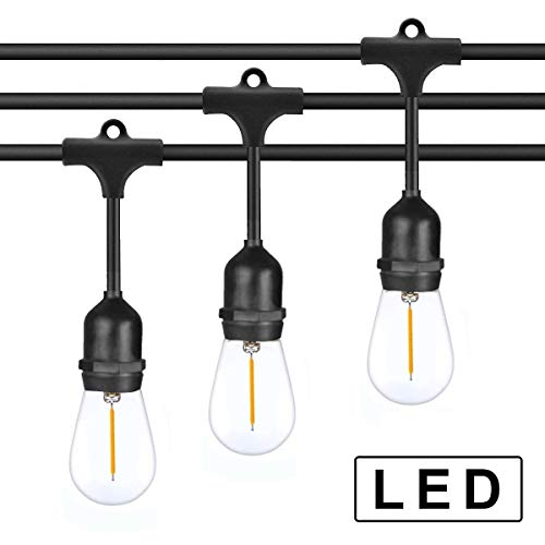 Outdoor LED String Lights 48 FT/Edison Bulb FULE String Lighting for Porch Garden Deck Backyard Cafe Bar Wedding Party UL Listed/Patio Lights by Fule light