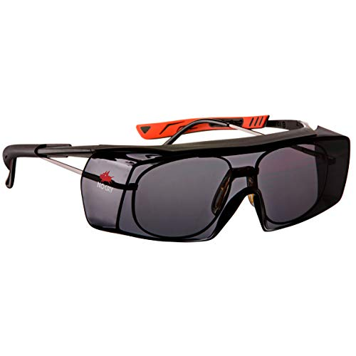 - NoCry Tinted Over-Spec Safety Glasses - with Anti-Scratch Wraparound Lenses, Adjustable Arms, and UV400 Protection, Black & Red Frames. ANSI Z87.1 & OSHA Certified