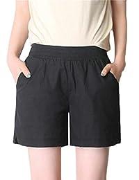 domple Mujer clásico color sólido de alta cintura de lino entrenamiento caminar playa pantalones cortos