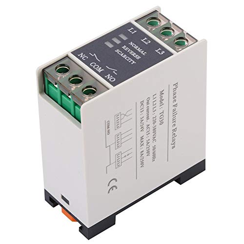 Akozon TG30 3-Phase Phase Sequence Relay Phase Failure Loss Protection 220-380VAC Phase Failure Relay Three Phase Voltage Monitoring Relay Phase Sequence Phase Failure Protection Relay ()