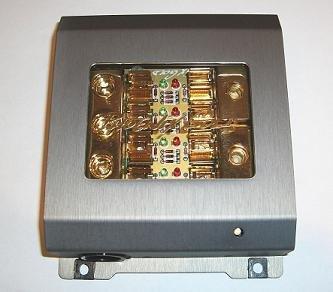 Phoenix Gold Fuse Block - Phoenix Gold ZBB342TI, Fuse Distribution Block with Diagnostics, Titanium Series, 1 to 2, for AGU Fuses, input: 3 cables – 1 Gauge (50mm²), output: 2 cables – 1 Gauge (50mm²), for 4 glass fuses, 4 x secured, gold-plated, titanium-colored