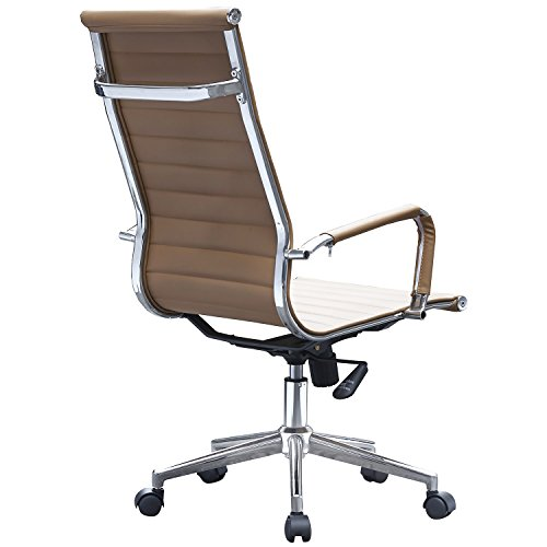 2xhome tan eames style ribbed pu leather executive office chair