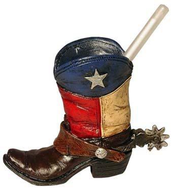 Holder Toothpick Star (Mini Texas Flag Boot Toothpick Pen Holder Vase Tiny Cowboy Boot Decoration)