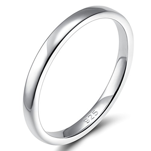 EAMTI 2mm 925 Sterling Silver Ring Thin High Polish Plain Dome Comfort Fit Size 9.5 ()