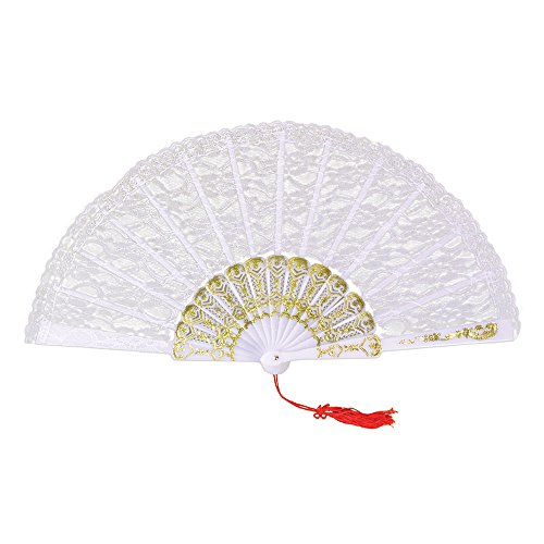 (Bristol Novelty BA612 Fan White Lace, One)