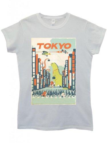 Tokyo City Cartoon Dinasaur Cool Funny Hipster Swag White Women Top T-Shirt-Medium