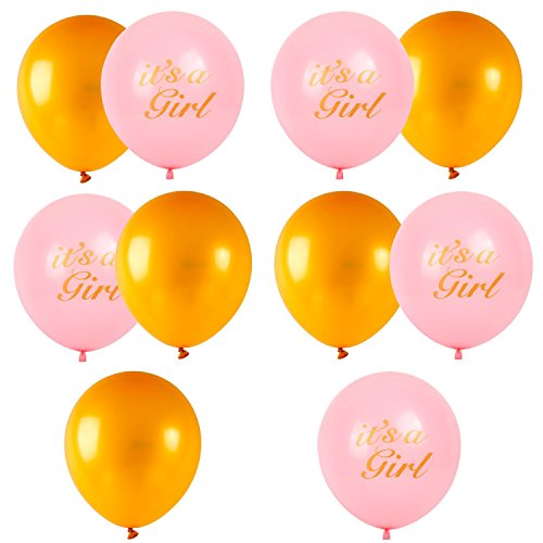 Baby Shower Decorations for Girl Set Pink Gold Theme Photo Booth Props It's A Girl Banner, Tissue Paper Flowers, Balloons with String, Swirls, Party Decorations All in One Bundle by Hippa (Image #8)