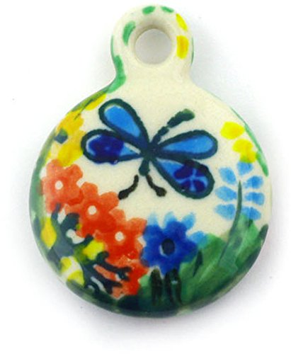 Polish Pottery Circle Pendant 2-inch Garden Delight UNIKAT made by Ceramika Artystyczna