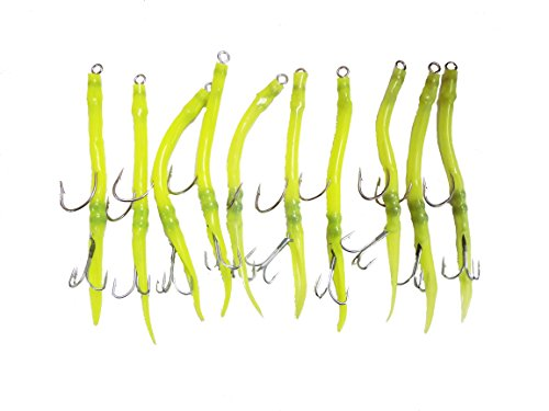 10 Pack Green Rigged Tube Fishing Lures