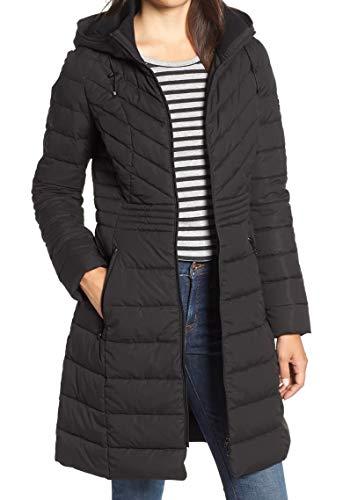 Bernardo Womens Deep Petite Hooded Stretch Jacket Blacks (Bernardo Jackets For Women)