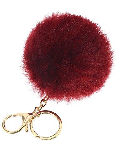 WILLBOND 12 Pieces Faux Fur Ball Pom Pom Keychain Fluffy Ball Key Chain with Key Ring for Handbag Bag Decoration, 8 cm, 10 cm, 14 cm by WILLBOND (Image #2)
