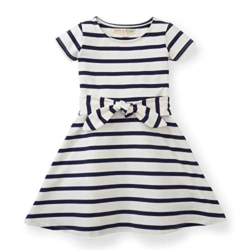 Hope & Henry Girls White with Blue Stripes Knit Tie - White Girl Dress And Blue Baby