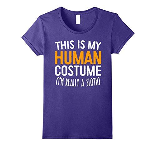 Purple Pie Man Costume (Womens This Is My Human Costume I'm Really A Sloth T-Shirt XL Purple)