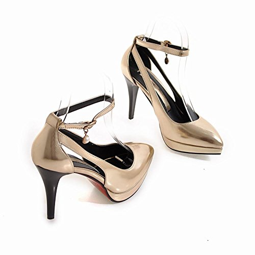 MissSaSa Damen high heel Ankle-strap Pointed Toe Plateau Pumps Gold