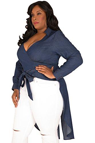 912ea0b84bd93 Poetic Justice Plus Size Women s Curvy Fit Fishtail Tencel Denim High-Low  Wrap Shirt