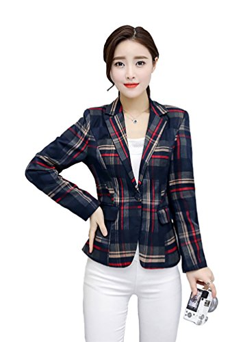 My Wonderful World Blazer Coat Jacket Mww Women's Notched Lapel Red Plaid Blazer Jacket Long Sleeve Suit Outwear US 8