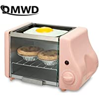 Good helper for home cooking 2 In 1 Mini Electric Baking Bakery Roast Oven Grill Fried Eggs Omelette Frying Pan Breakfast Machine Bread Maker Toaster (Color : Pink)