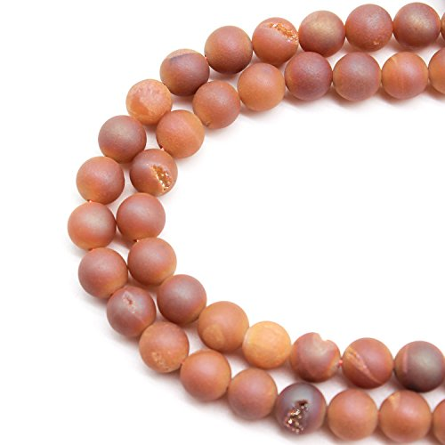JARTC Rare Collection Natural Stone Beads Orange Drusy Agate Round Loose Beads for Jewelry Making DIY Bracelet Necklace (12mm)