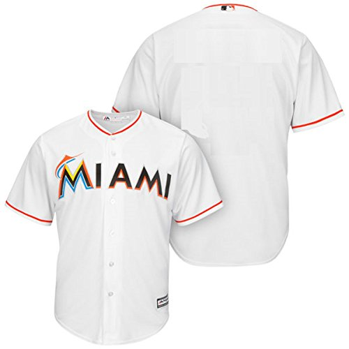 Miami Marlins Blank White Youth Cool Base Home Jersey (Medium 10/12)