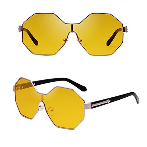 Lunettes Le Hommes Personnalisées Frame Polygonal Pour Rouge Soleil Jaune Large Couleur WANGXIAOLIN Sunglasses De InfZxw71Fq