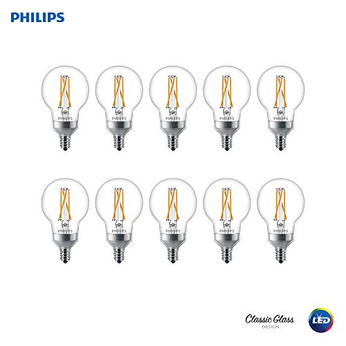 (Philips 536755 LED Dimmable G16.5 Clear Filament Glass Light Bulb with Warm Glow Effect: 500-Lumens, 2700-2200 Kelvin, 5.5 (60-Watt Equivalent), E12 Candelabra Base, 10 Pack, Piece )