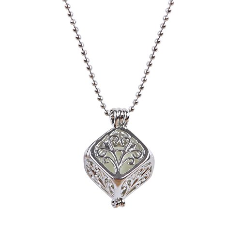 FM FM42 Glow in The Dark Life of Tree Square Cube Locket Pendant Necklace with 19