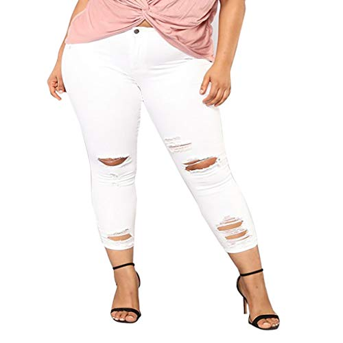 FIRERO Women Plus Size Elastic Denim Pocket Button Casual Boot Cut Pant Jeans White ()