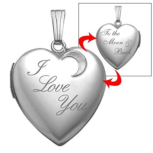 Sterling Silver 'to the Moon and Back' Heart Locket Pendant Necklace 3/4 Inch X 3/4 Inch