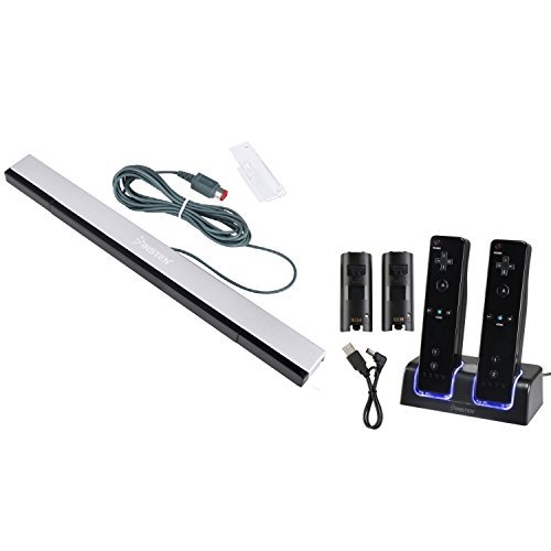 Everydaysource Compatible With Nintendo Wii Black Remote Control Dual Charging Station w/ 2 Rechargeable 2800 mAh Batteries & LED Light + Wired Sensor Bar by EverydaySource