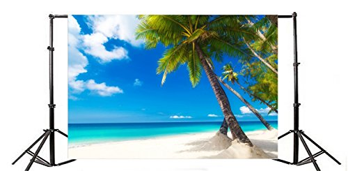- Yeele 5x4ft Beach Coconut Tree Backgrounds Seaside Palm Tree Sea Bay Coast Blue Sky White Cloud Photography Backdrops Vinyl Summer Travel Holiday Photo Shoot Video Studio Props
